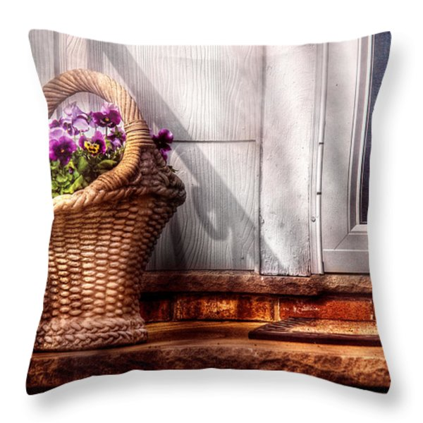 Flower - Pansy - Basket Of Flowers Throw Pillow by Mike Savad
