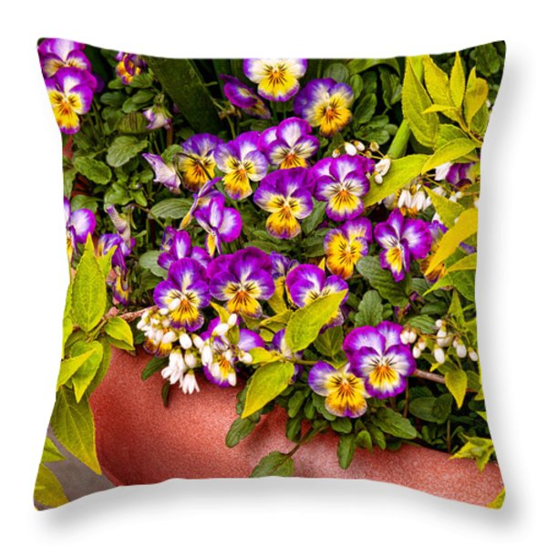 Flower - Pansy - Purple Posies  Throw Pillow by Mike Savad