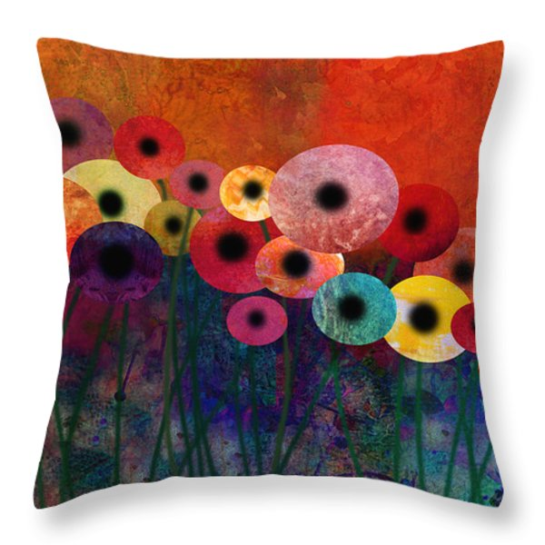 Flower Power Five Abstract Art Throw Pillow by Ann Powell