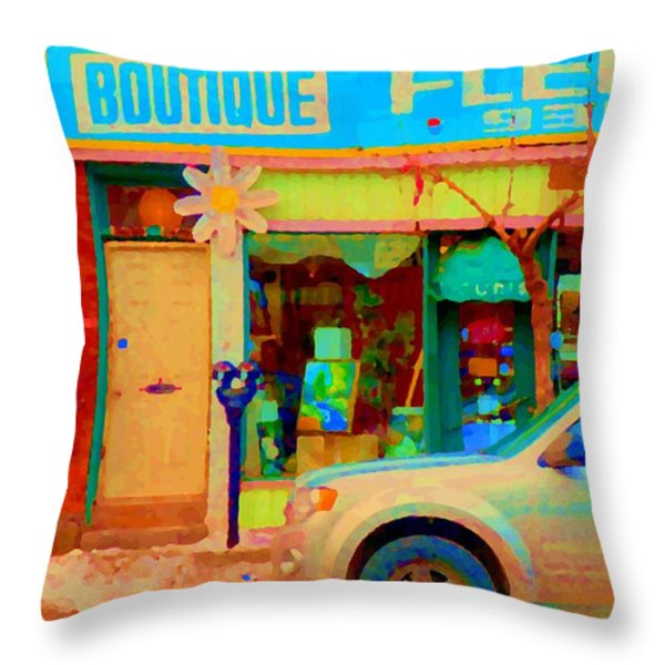 Flower Shop St Henri Boutique Fleuriste Window Notre Dame Ouest Montreal City Scene Carole Spandau Throw Pillow by Carole Spandau