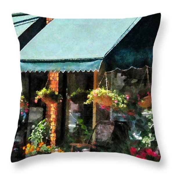 Flower Shop With Green Awnings Throw Pillow by Susan Savad