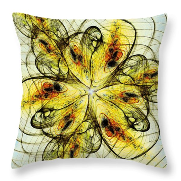 Flower Sketch Throw Pillow by Anastasiya Malakhova