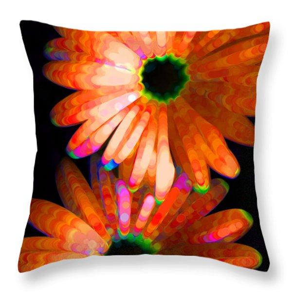 Flower Study 5 - Vibrant Orange By Sharon Cummings Throw Pillow by Sharon Cummings