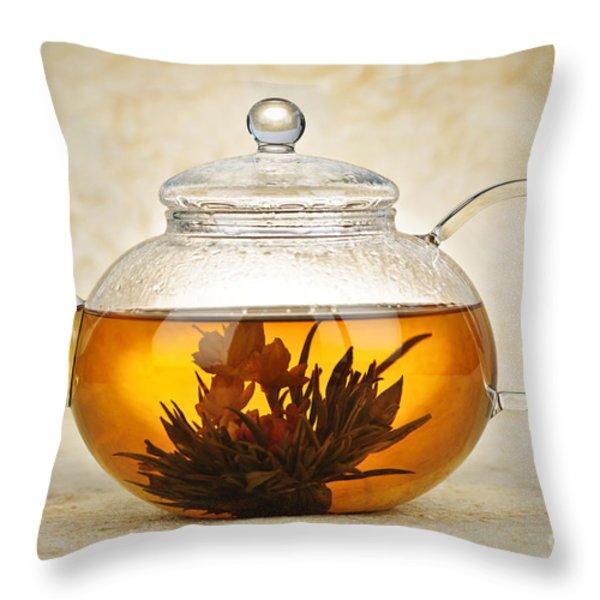 Flowering blooming tea Throw Pillow by Elena Elisseeva