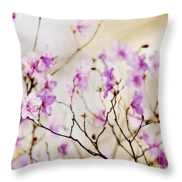 Flowering rhododendron Throw Pillow by Elena Elisseeva