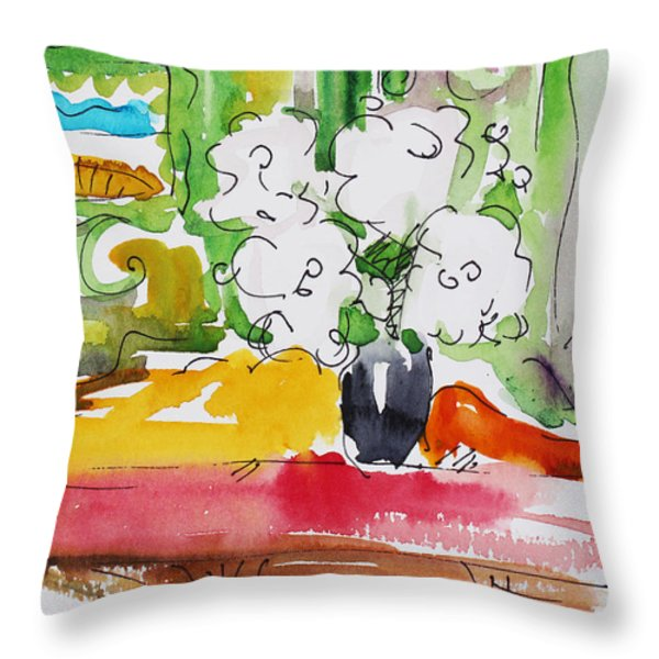 Flowers And Green Wall Throw Pillow by Becky Kim