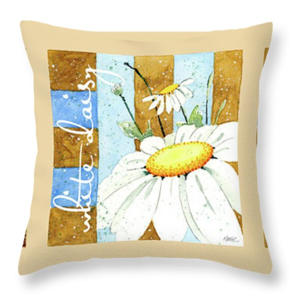 Flowers And Stripes Throw Pillow by Annie Troe