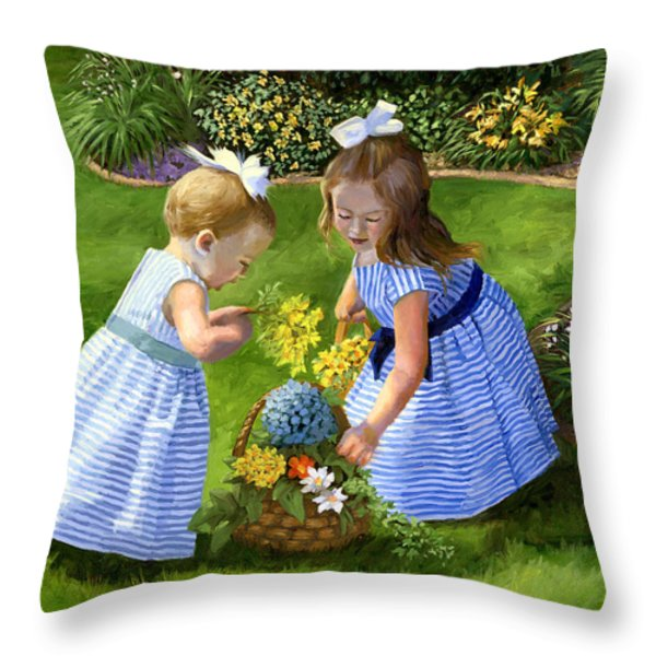 Flowers For Mama With Girls Garden Basket Bouquet Throw Pillow by Alice Leggett