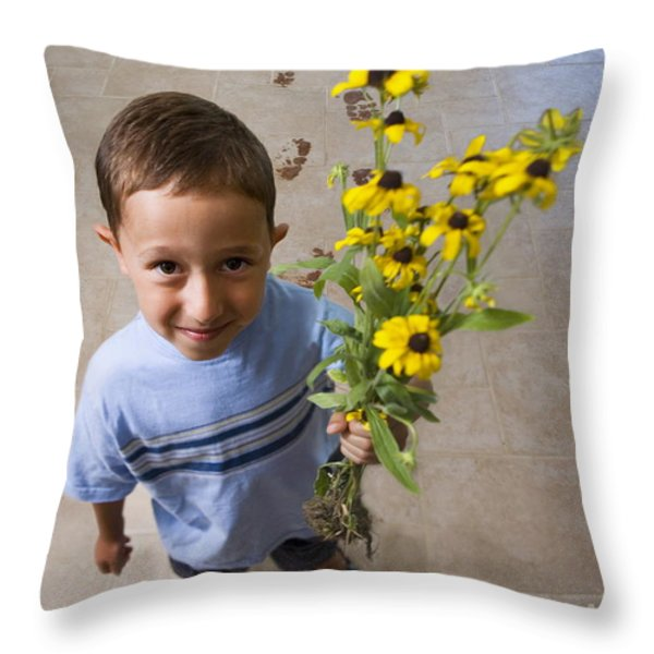 Flowers for Mom Throw Pillow by Diane Diederich
