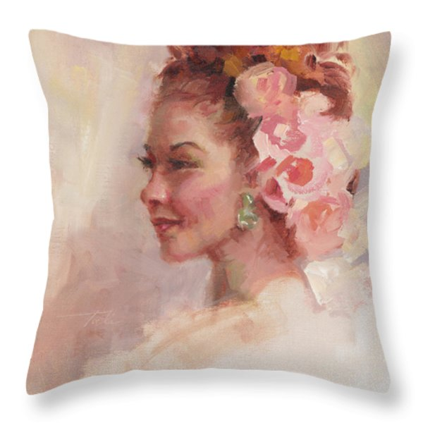 Flowers In Her Hair - Portrait Throw Pillow by Talya Johnson