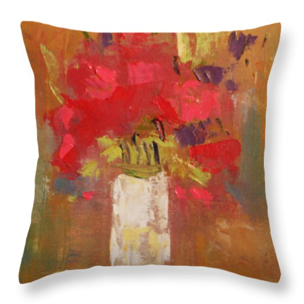 Flowers in White vase Throw Pillow by Becky Kim