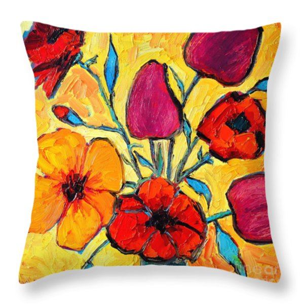 FLOWERS OF LOVE Throw Pillow by ANA MARIA EDULESCU