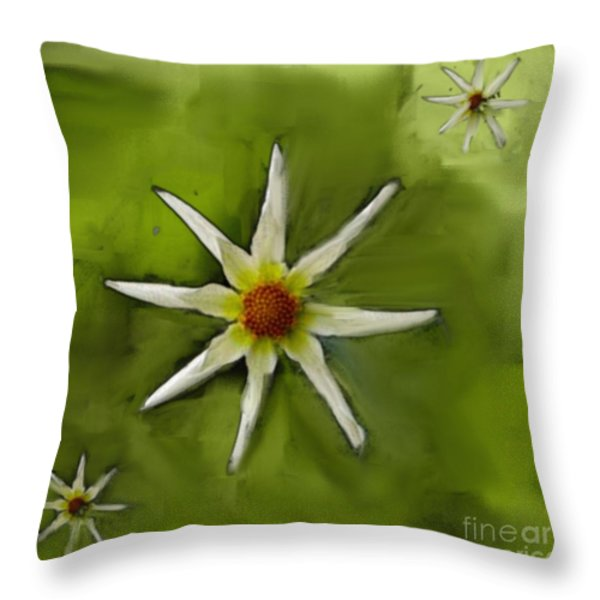 Flowers White Throw Pillow by Nedunseralathan R
