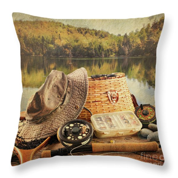 Fly fishing equipment  with vintage look Throw Pillow by Sandra Cunningham