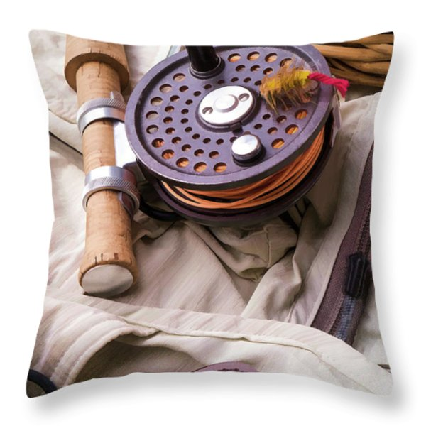 Fly Fishing Still Life Throw Pillow by Edward Fielding