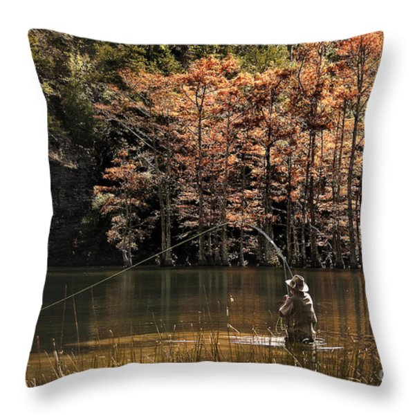 Fly Fishing  Throw Pillow by Tamyra Ayles