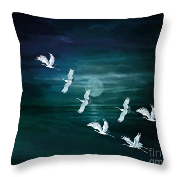 Flying By The Moon Bay Throw Pillow by Bedros Awak