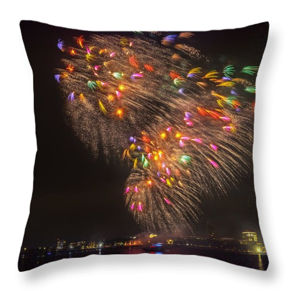 Flying Feathers of Boston Fireworks Throw Pillow by Sylvia J Zarco