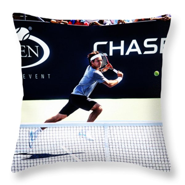 Flying Federer  Throw Pillow by Nishanth Gopinathan
