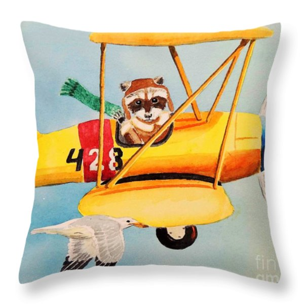 Flying Friends Throw Pillow by LeAnne Sowa