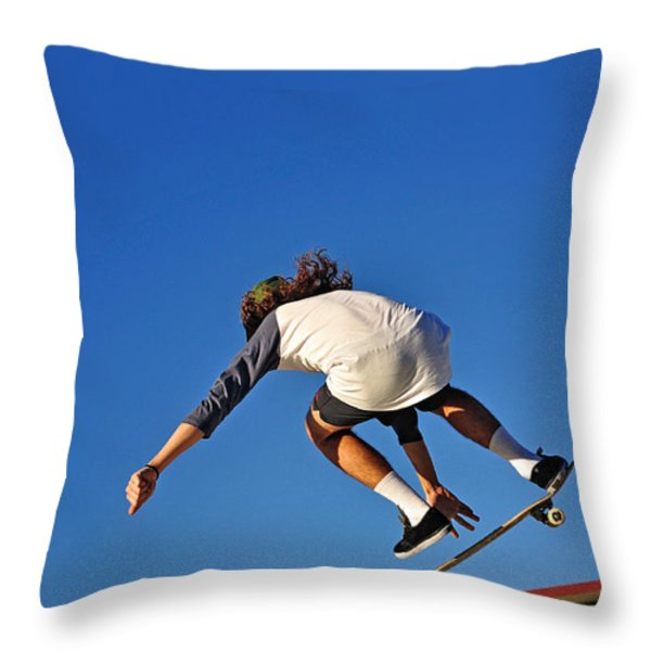 Flying High - Action Throw Pillow by Kaye Menner