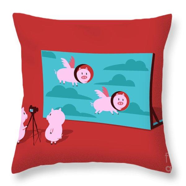 Flying pig Throw Pillow by Budi Satria Kwan