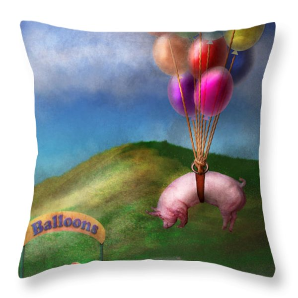Flying Pig - Child - How I wish I were a bird Throw Pillow by Mike Savad