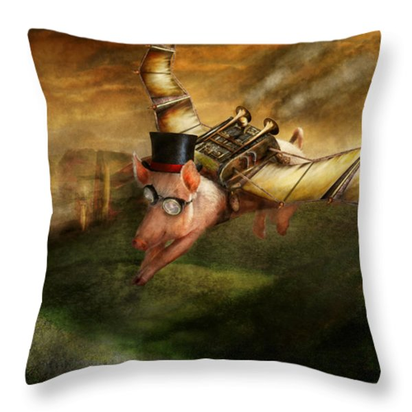 Flying Pig - Steampunk - The flying swine Throw Pillow by Mike Savad
