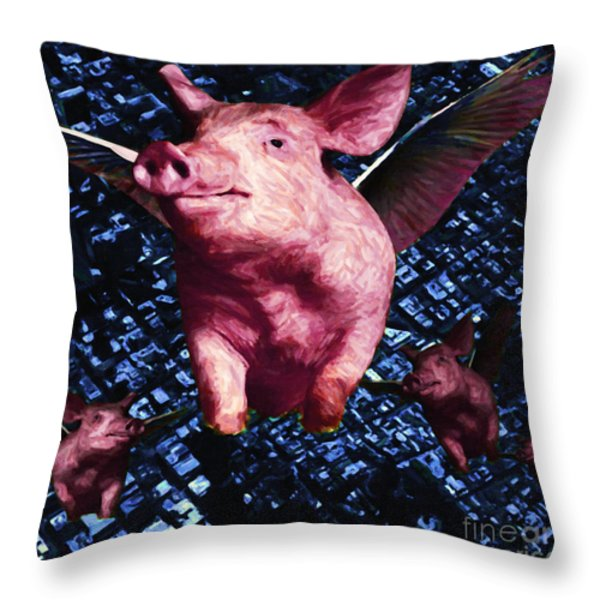 Flying Pigs Over San Francisco - square Throw Pillow by Wingsdomain Art and Photography