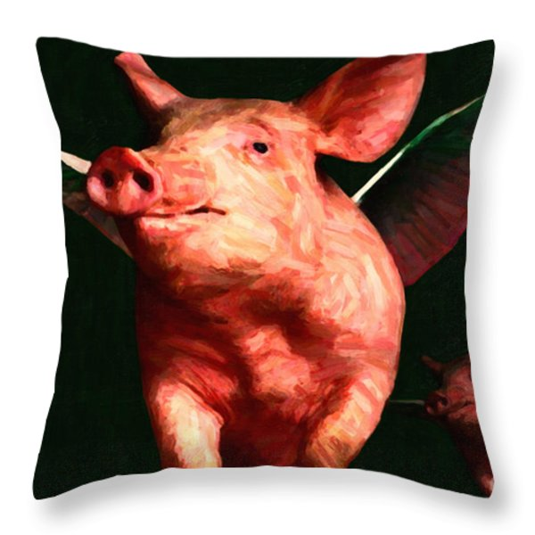 Flying Pigs v3 Throw Pillow by Wingsdomain Art and Photography