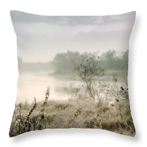 Fog Over The River. Stirling. Scotland Throw Pillow by Jenny Rainbow