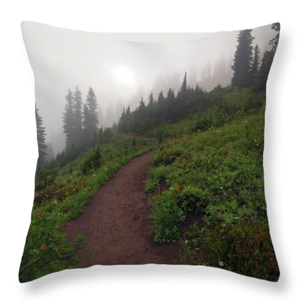 Foggy Crest Trail Throw Pillow by Mike  Dawson