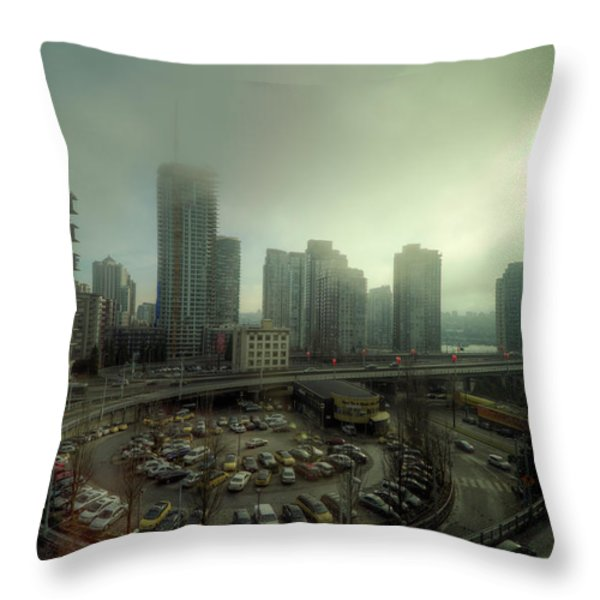 Foggy Downtown Vancouver Throw Pillow by Eti Reid