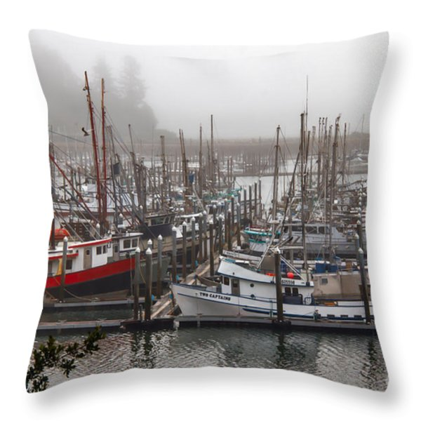 Foggy Ilwaco Port Throw Pillow by Robert Bales