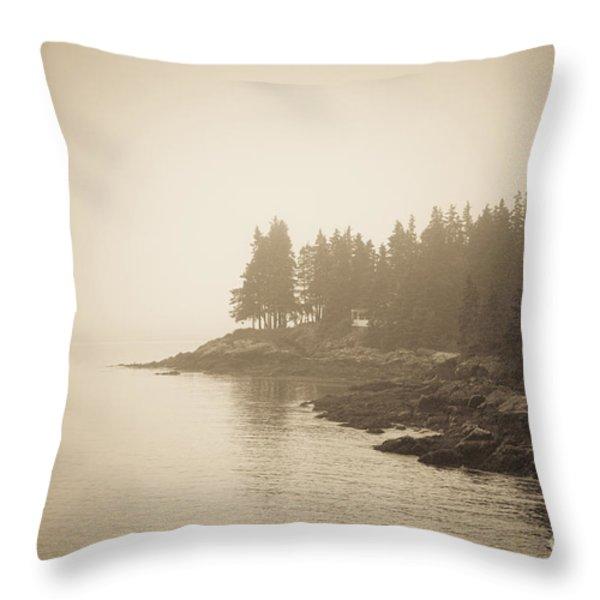 Foggy Maine Coast Throw Pillow by Diane Diederich