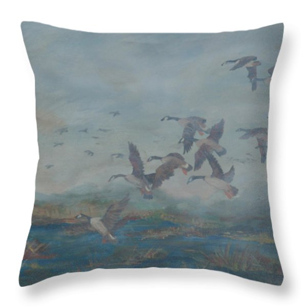 Foggy Morning Throw Pillow by Gail Daley