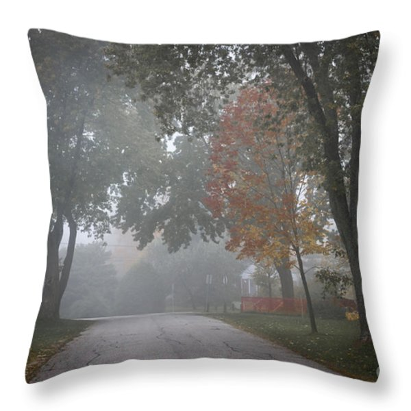 Foggy Street Throw Pillow by Elena Elisseeva