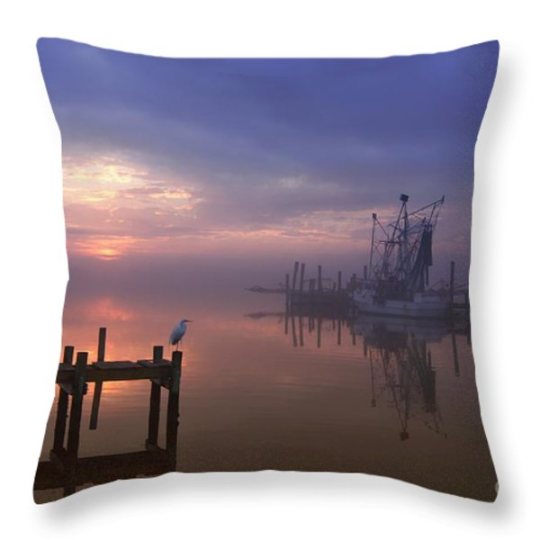 Foggy Sunset over Swansboro Throw Pillow by Benanne Stiens