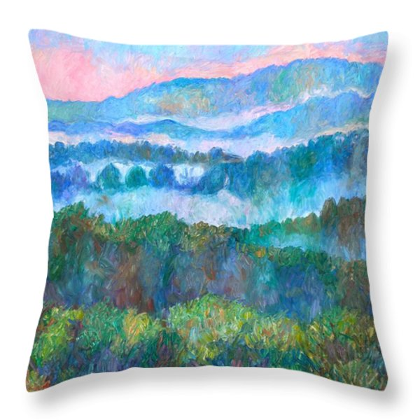 Foggy View From Mill Mountain Throw Pillow by Kendall Kessler