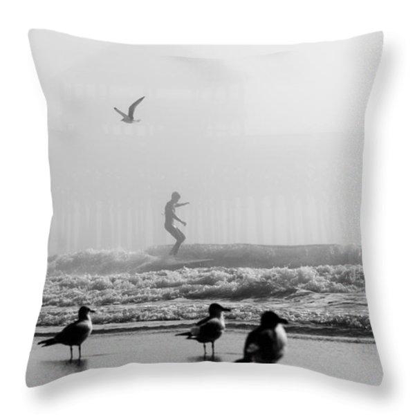Folly Beach Pier Foggy Day Surf Throw Pillow by Dustin K Ryan
