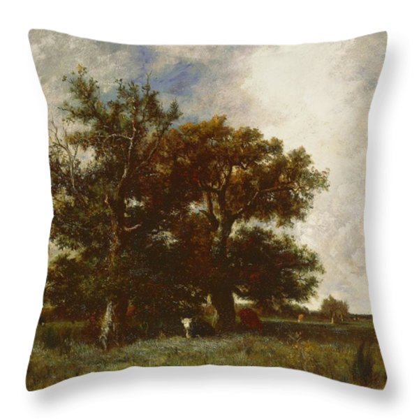 Fontainebleau Oak Throw Pillow by Jules Dupre
