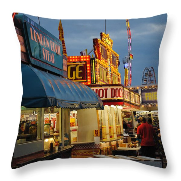FOOD COURT Throw Pillow by Skip Willits