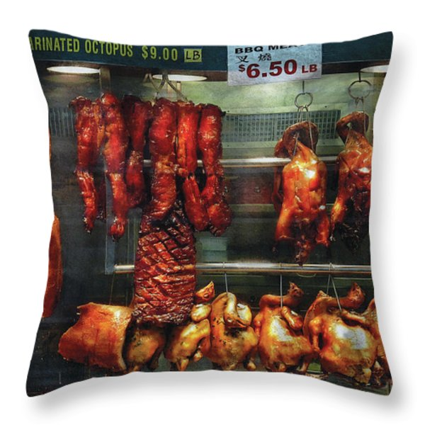 Food - Roast Meat For Sale Throw Pillow by Mike Savad