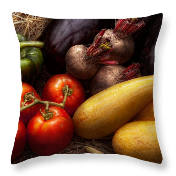 Food - Vegetables - Peppers Tomatoes Squash And Some Turnips Throw Pillow by Mike Savad