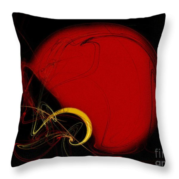 Football Helmet Red Fractal Art 2 Throw Pillow by Andee Design