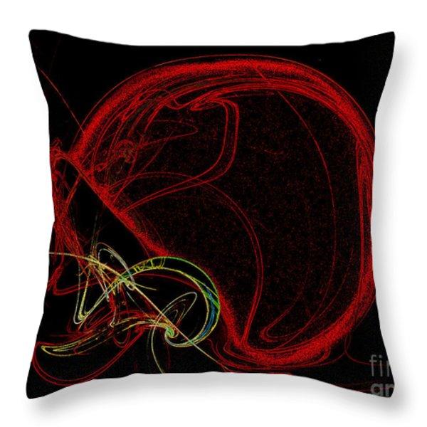 Football Helmet Red Fractal Art Throw Pillow by Andee Design
