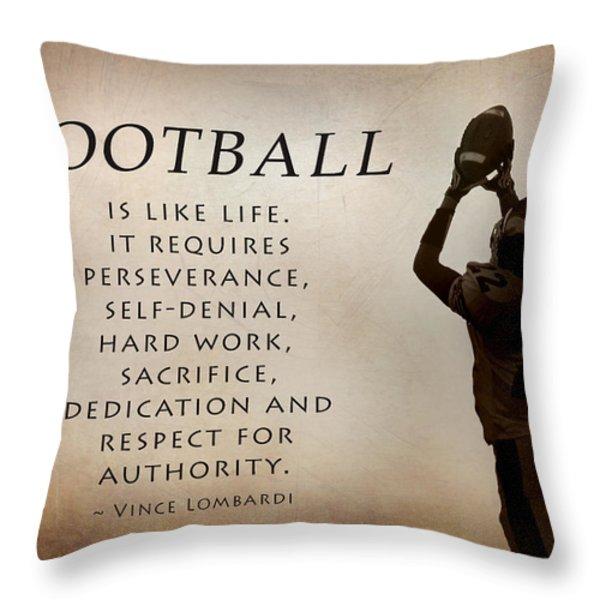 Football Throw Pillow by Lori Deiter