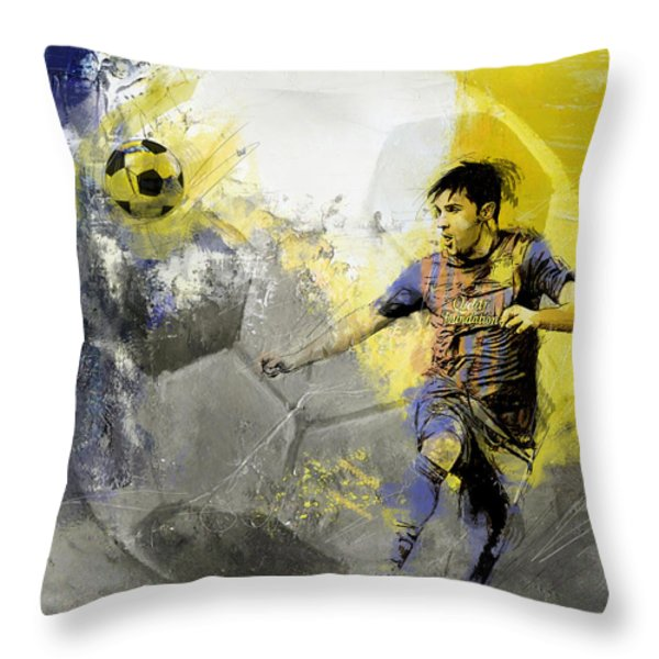 Football Player Throw Pillow by Catf