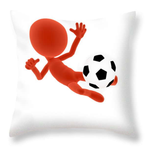 Football soccer shooting jumping pose Throw Pillow by Michal Bednarek