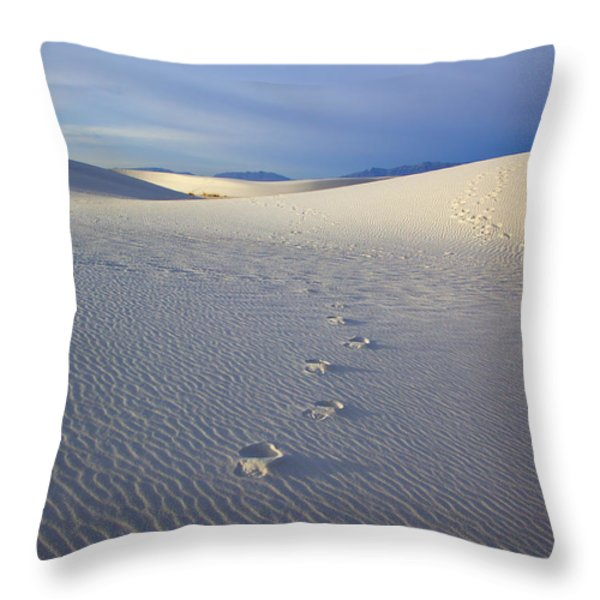Footprints Throw Pillow by Mike  Dawson